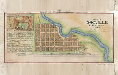 165 Oroville, WA 1906 Vintage historic antique map painting poster print