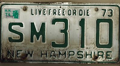 New Hampshire 1973 License Plate Live Free Or Die Green On White Plate SM310