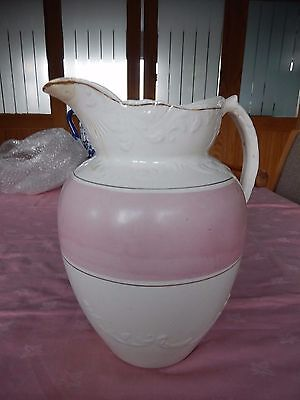 Very Large Vintage Ceramic Water Jug / Pitcher Pink and White (1 + Gallon?)