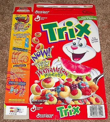 1999 General Mills Trix Now! With Watermelon Pieces! Cereal Box Flat Maze Back