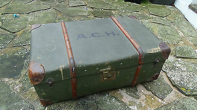 "Vintage Edwardian Steamer Trunk Good Size 33"" X 12"" X 20"" Yalding Station Label"