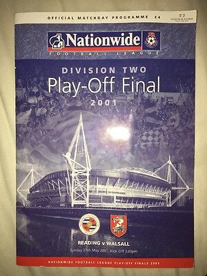 Division Two Play Off Final Programme 2001 Reading V Walsall