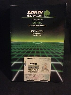 Forest V Southampton Cup Final Programme 1992 With Ticket