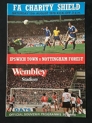 Fa Charity Shield Programme Ipswich Town V Nottingham Forest 1978