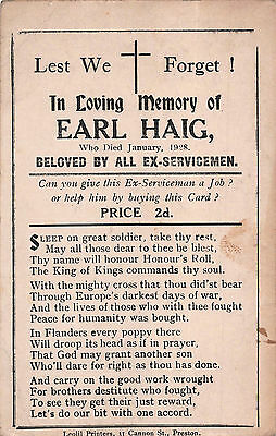 MILITARY POSTCARD ~ IN LOVING MEMORY of EARL HAIG ~ SOLD in aid of EX-SERVICEMAN