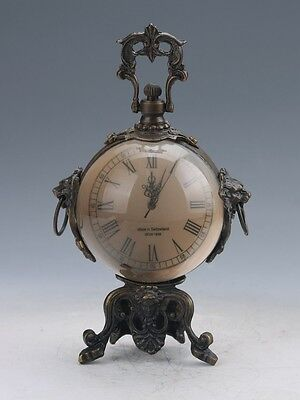 Collectible Old Chinese Brass Handwork Mechanical Crystal Clock Z102