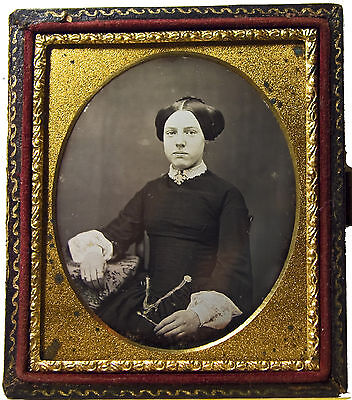 CHATELAINE 6th Plate 1850s DAGUERREOTYPE Lovely Lady Period Dress, Hairstyle