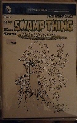 Dc new 52 swamp thing sketch by artist yanich paquette and signed