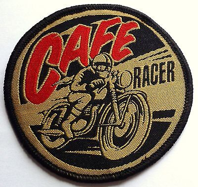 CAFE RACER - SEW OR IRON ON BIKER MOTORCYCLE PATCH 75mm x 75mm