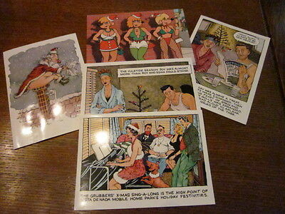 Hilarious Adult Vintage West Graphics Assorted Christmas Cards - Lot Of 5