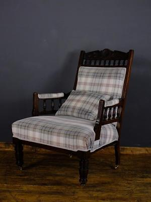 Antique Vintage Late Victorian Fireside Mahogany Armchair