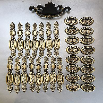 Lot Of 32 Vintage New Antique Brass Spain Door Drawer Pull Handle Hardware
