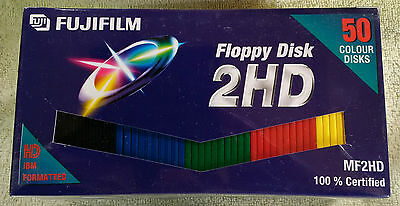 "50 x Fuji High Density IBM Formatted 3.5"" Floppy Disks - Brand New Sealed Pack"