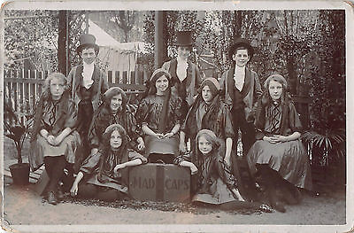 c1910 RP POSTCARD ~ MADCAPS ~ CHILDREN ENTERTAINERS / TROUPE POSE in COSTUME