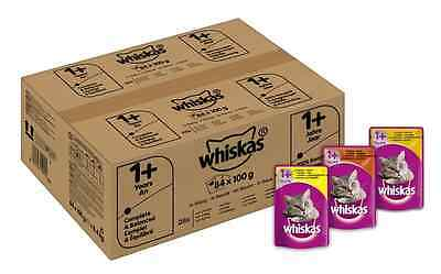Whiskas Wet Cat Food Pouch for 1+ Adult, Mixed Selection in Gravy - 84 x 100 g P