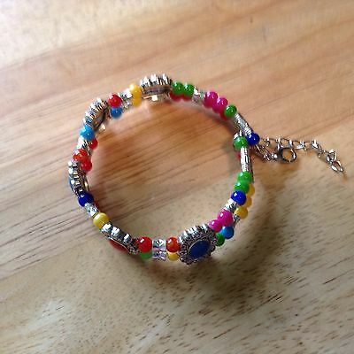 Silver Plated Stretch Bracelet with Multi Colour Crystals Small/ Medium