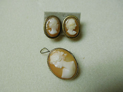 Vintage Sterling Silver Gold Wash? Shell Cameo Pendant Brooch Earring Set Lot