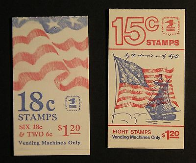 Two Unused US Stamp Bookklets 18cent and 15 cents Stamps