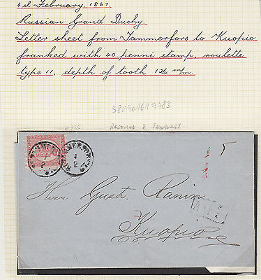 timbres / stamps Finlande Russe / Finland russian empire enveloppe / cover 1867