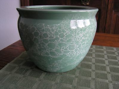 """VTG Green Marble Look Ceramic Bowl Pottery Christmas Decor 5.25""""Hx6.5""""W ExCond"""