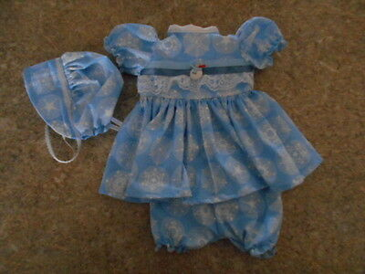 """Vintage Chatty Cathy 18-20"""" New Handmade Christmas Snowflakes Lt. Blue Outfit"""