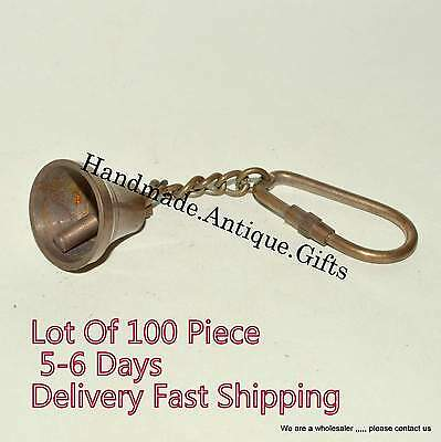 Antique Nautical Vintage Brass Bell KeyChain Keyring Lot