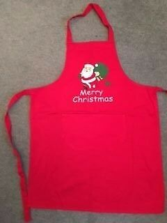 Childchristmas Red Apron With Father Christmas/santa On Front