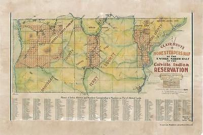164 Colville, WA vintage historic antique map painting poster print