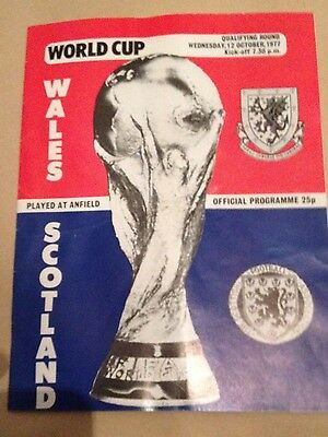 Wales v Scotland World cup played at Anfield 12/10/1977