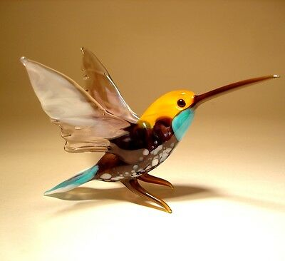 "Blown Glass ""Murano"" Art Purple, Orange and Blue HUMMINGBIRD Bird Figurine"