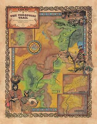 203 Turquoise Trail,  NM vintage historic antique map painting poster print