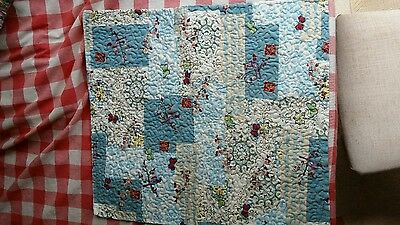 Turquoise/Cream printed with Flowers & Music Pet Quilt - Handmade