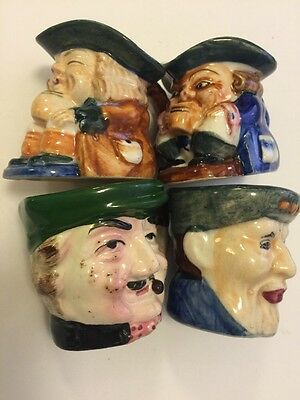 "Toby Mug Jug 2 1/2"" Figurine Hand Painted Japan Lot Of 4"