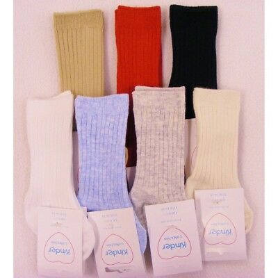 BOYS Spanish Style knee high RIBBED Socks - 0-6 years RED BLUE WHITE CAMEL IVORY