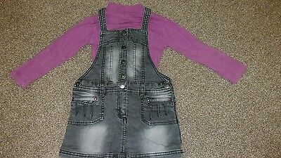 Girls dungarees style dress and purple long sleeve t-shirt, sweet kitten, age 4