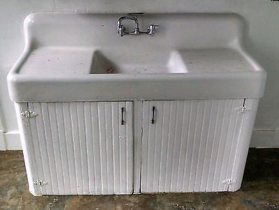 Vintage double drain board Cast Iron Farm Farmhouse Kitchen Sink Antique drop in