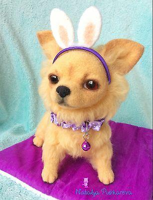��OOAK Needle felted  chihuahua dog/puppy 7,5*8,5in sculpture collection��