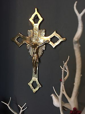 Vintage Large Cast Brass Wall Hanging Crucifix