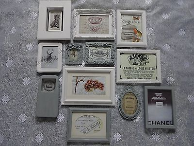 Grey / Vanilla White / Vintage French Look / Shabby Chic Pictures/Frames x 12