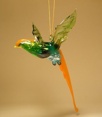 "Blown Glass Figurine  ""Murano"" Art Hanging Bird PHEASANT Ornament"