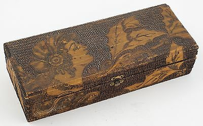 Flemish Pyrographic Glove/Jewelry Box Gibson Girl w/Holly Art Nouveau Flapper