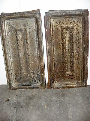 "2 each Reclaimed 12"" x 24"" Antique 1880's Ceiling Tin Tiles-Historic Joplin MO"