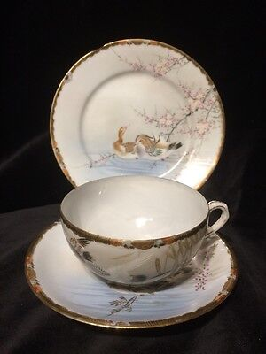 Oriental China Bird Decoration Tea Cup Saucer Plate Trio Set Hand Painted