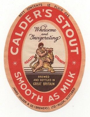 OLD LABEL  - CALDER'S STOUT (D)    - 91mm TALL