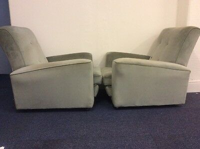 Pair Of Stylish Vintage Mid Century Retro Green Armchairs And Very Comfortable