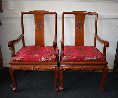 Pair Chinese Hardwood Armchairs + Fitted Silk Cushions