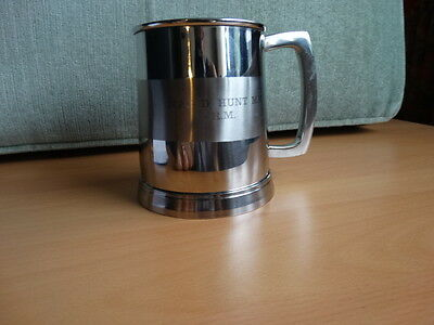 One pint stainless steel mug presented to Major D Hunt MM Royal Marines