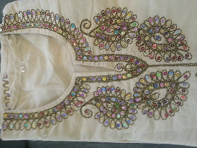 Indian Caftan/Tunic- Ivory colour with Sequine work on neck and all over
