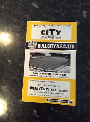 Early League Cup Game Hull City V Southend 22.09.1964