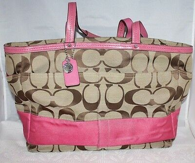 Coach Multifunction Extra Large Tote Shopper Diaper Bag khaki pink F13803